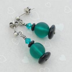 emerald,srebro - Kolczyki - Biżuteria