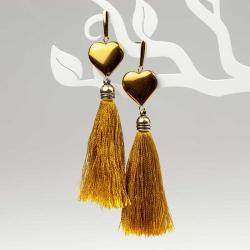 kolczyki,długie,chwost,serce,żółte,impreza - Kolczyki - Biżuteria