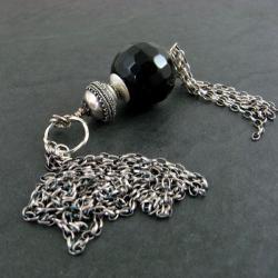 długi,z onyksem - Naszyjniki - Biżuteria