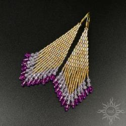 wieczorowe,złote,długie,indiańskie,frędzle,boho - Kolczyki - Biżuteria