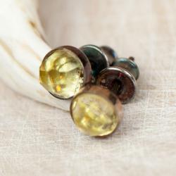 sztyfty ze srebra z zoltym kamieniem - Kolczyki - Biżuteria