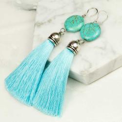 kolczyki,długie,z chwoistami,boho,niebieskie - Kolczyki - Biżuteria
