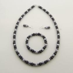 szarości,szary,hematyt,perełki,ponadczasowy, - Komplety - Biżuteria