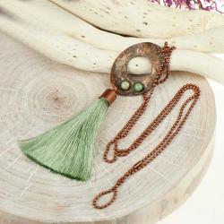 miedziany naszyjnik z chwostem,z turkusami - Naszyjniki - Biżuteria