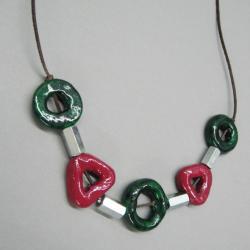 naszyjnik,ceramika,metal,rzemień,prezent - Naszyjniki - Biżuteria