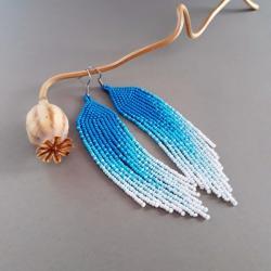 kolczyki cieniowane,z frędzlami,kolorowe,beading, - Kolczyki - Biżuteria