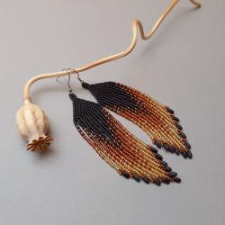 kolczyki indiańskie,z frędzlami,długie,cieniowane - Kolczyki - Biżuteria