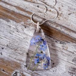 naszyjnik z żywicy,kwiatów i srebra - Naszyjniki - Biżuteria