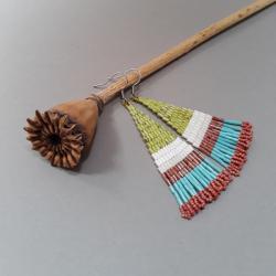 kolczyki indiańskie,z frędzlami,kolorowe,beading, - Kolczyki - Biżuteria