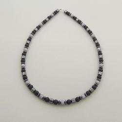 hematyt,perełki,szary,szarości,ponadczasowy - Naszyjniki - Biżuteria