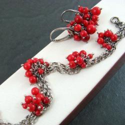 delikatny,koralowy - Komplety - Biżuteria