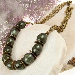 naszyjnik prezent,naszyjnik z brył ceramicznych - Naszyjniki - Biżuteria