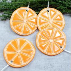 pomarańcze,owoce na choinkę,plasterki pomarańczy - Ceramika i szkło - Wyposażenie wnętrz