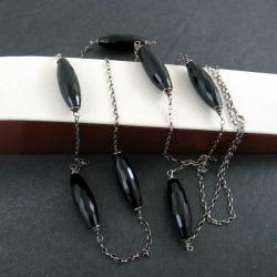 długi,czarny - Naszyjniki - Biżuteria