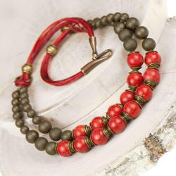 naszyjnik,koral,dwurzędowy,czerwony,kobiecy - Naszyjniki - Biżuteria