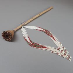 kolczyki indiańskie,z frędzlami,beading, - Kolczyki - Biżuteria