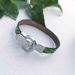 bransoletka,skóra węża,zielona,ekologiczna - Bransoletki - Biżuteria
