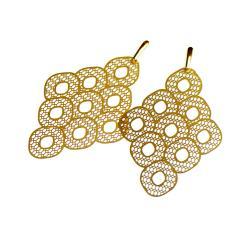 nowoczesne,azurowe,duże kolczyki,złote - Kolczyki - Biżuteria