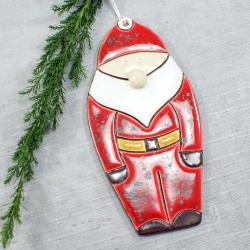 Mikołaj,ozdoba świąteczna,zawieszka ceramiczna - Ceramika i szkło - Wyposażenie wnętrz