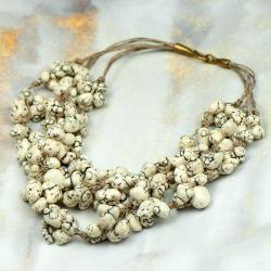 naszyjnik sznurkowy,naszyjnik lnianymz kamieniami - Naszyjniki - Biżuteria