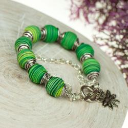 bransoltka,zielona,fimo,codzienna - Bransoletki - Biżuteria