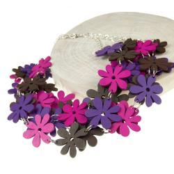 naszyjnik na prezent,drewniane kwiaty - Naszyjniki - Biżuteria