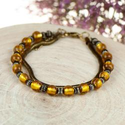 boho bransoletka,złota bransoletka, - Bransoletki - Biżuteria