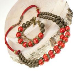 komplet biżuterii,koral,kobiecy,czerwony,klasyczn - Komplety - Biżuteria