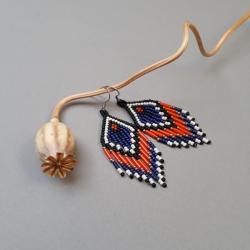 kolczyki indiańskie,z frędzlami,kolorowe - Kolczyki - Biżuteria