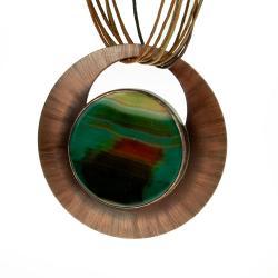 miedziany naszyjnik,z agatem,zielony,prezent - Wisiory - Biżuteria