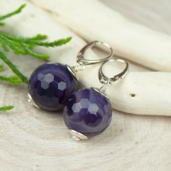 kolczyku,duże kula agatu,fioletowe,srebrne - Kolczyki - Biżuteria