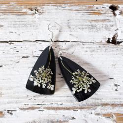 kolczyki z żywicy i kwiatów oprawione w srebro - Kolczyki - Biżuteria