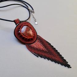 naszyjnik cieniowany,z mokaitem - Naszyjniki - Biżuteria