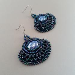 granatowe kolczyki,haft koralikowy,wachlarze - Kolczyki - Biżuteria