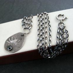 srebrna,z pająkiem - Bransoletki - Biżuteria
