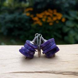 fioletowe,plastry - Kolczyki - Biżuteria