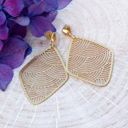 kolczyki,wiszące,ażurowe,mosiądz,złoty kolor - Kolczyki - Biżuteria