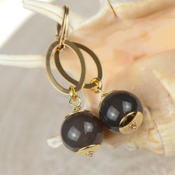kolczyki z agatami,eleganckie kolczyki - Kolczyki - Biżuteria