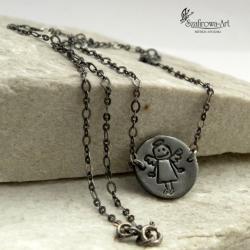 naszujnik,anioł,prezent,celebrytka,srebro - Naszyjniki - Biżuteria