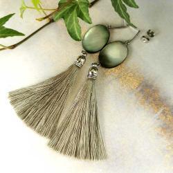 kolczyki,masa perłowa,chwosty,boho - Kolczyki - Biżuteria